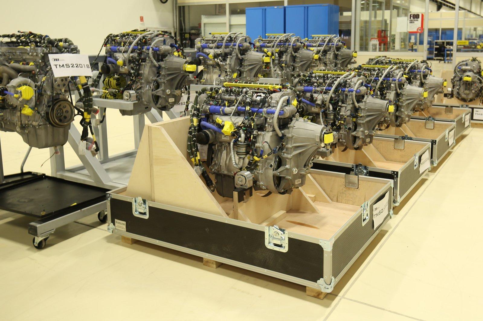 UAV engines produced by Turkey's TEI at its facility in Eskişehir, central Turkey, Aug. 12, 2020. (Photo by TEI via AA)