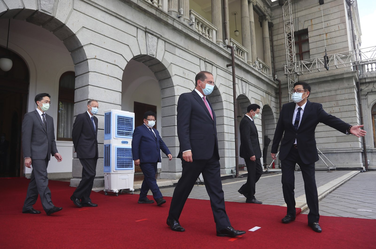 U.S. Health and Human Services Secretary Alex Azar (3rd R) arrives at a memorial for former Taiwanese President Lee Teng-hui in Taipei, Taiwan, Wednesday, Aug. 12, 2020. (AP Photo)