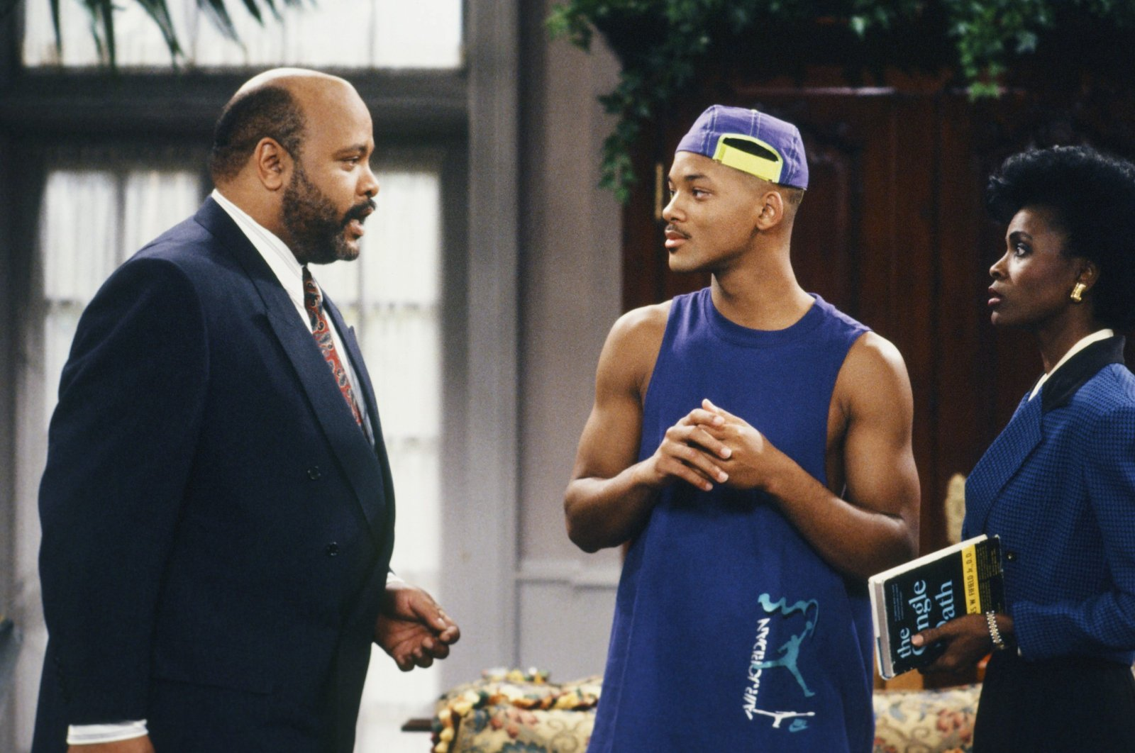 """This photo provided by NBC shows (L-R) James Avery as Philip Banks, Will Smith as William """"Will"""" Smith, and Janet Hubert as Vivian Banks, in Episode 7, """"Def Poet's Society"""" from the TV series, """"The Fresh Prince of Bel-Air."""" (AP PHOTO)"""