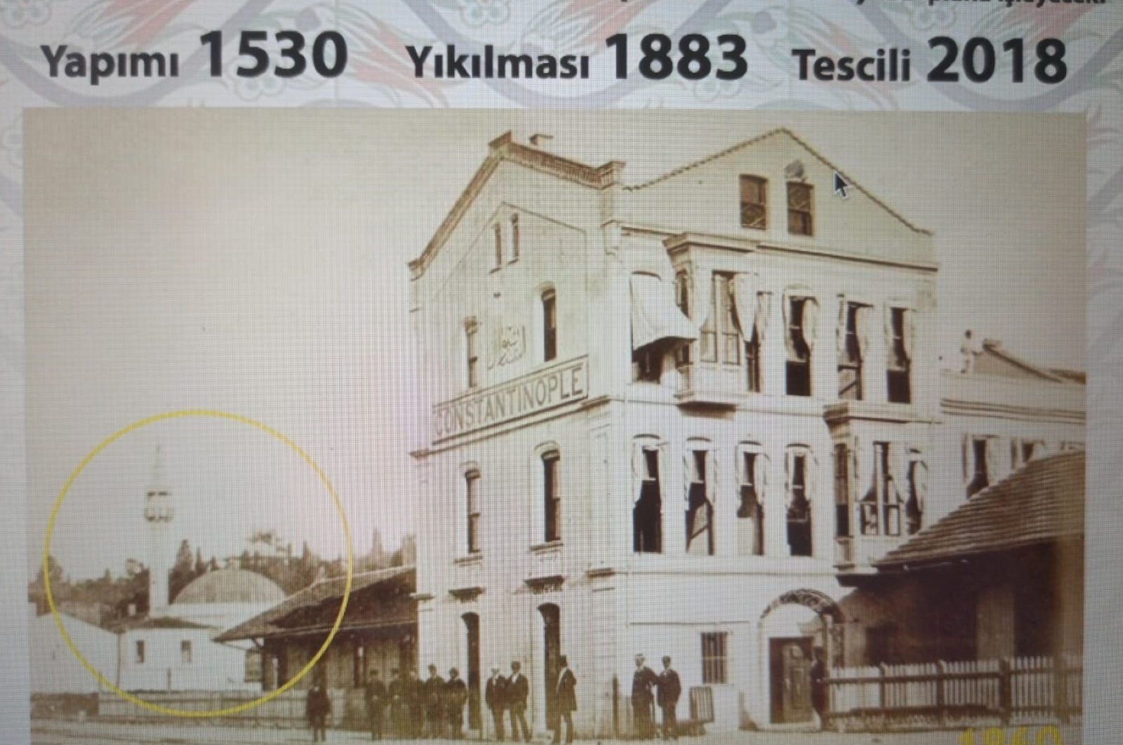 A historical photo showing the Daya Hatun Mosque which the association seeks to rebuild after it was demolished in 1883 in Istanbul, Turkey. (AA Photo)