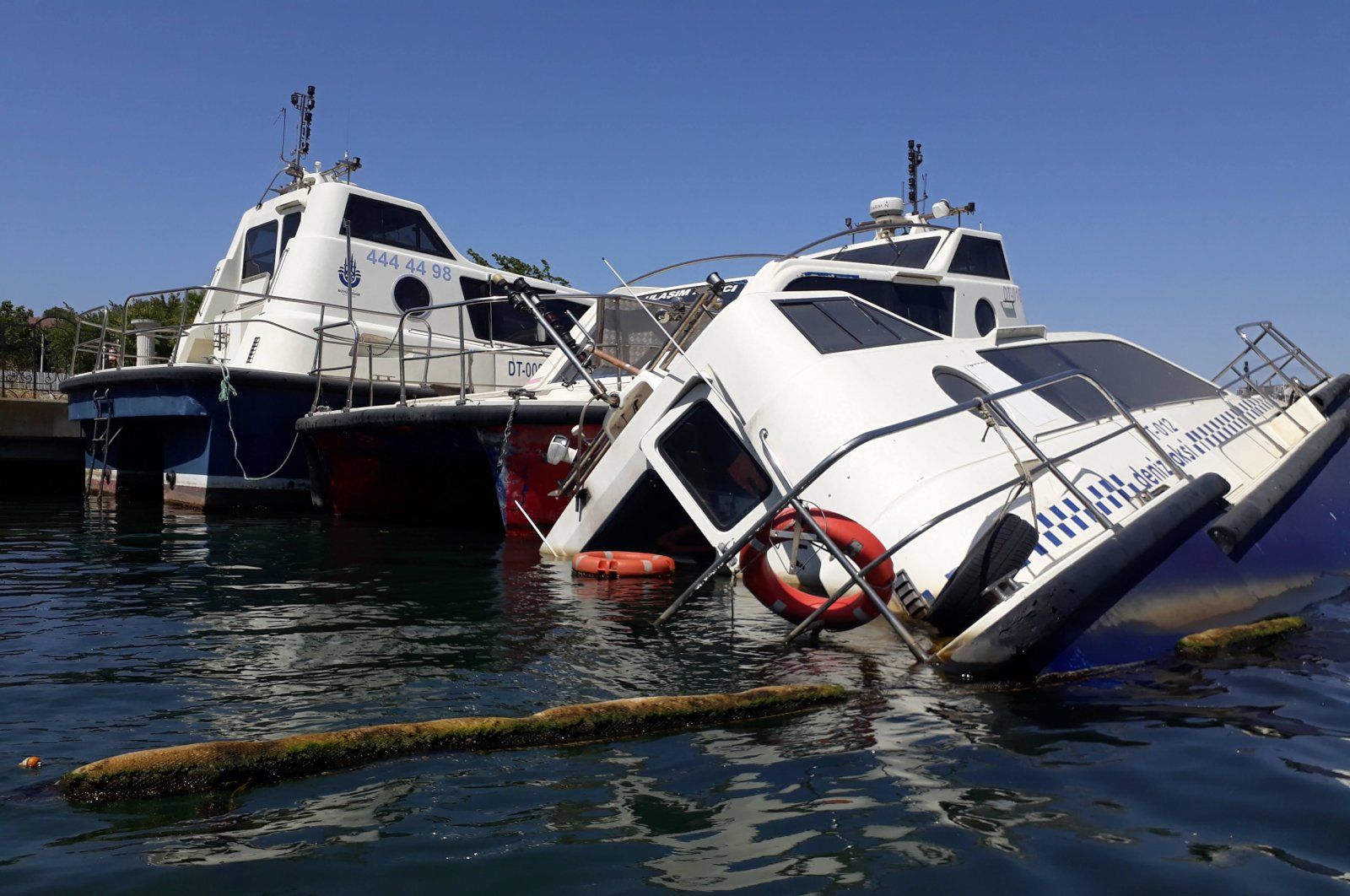 Sea taxis anchored at the Golden Horn, in Istanbul, Turkey, Aug. 12, 2020. (DHA Photo)