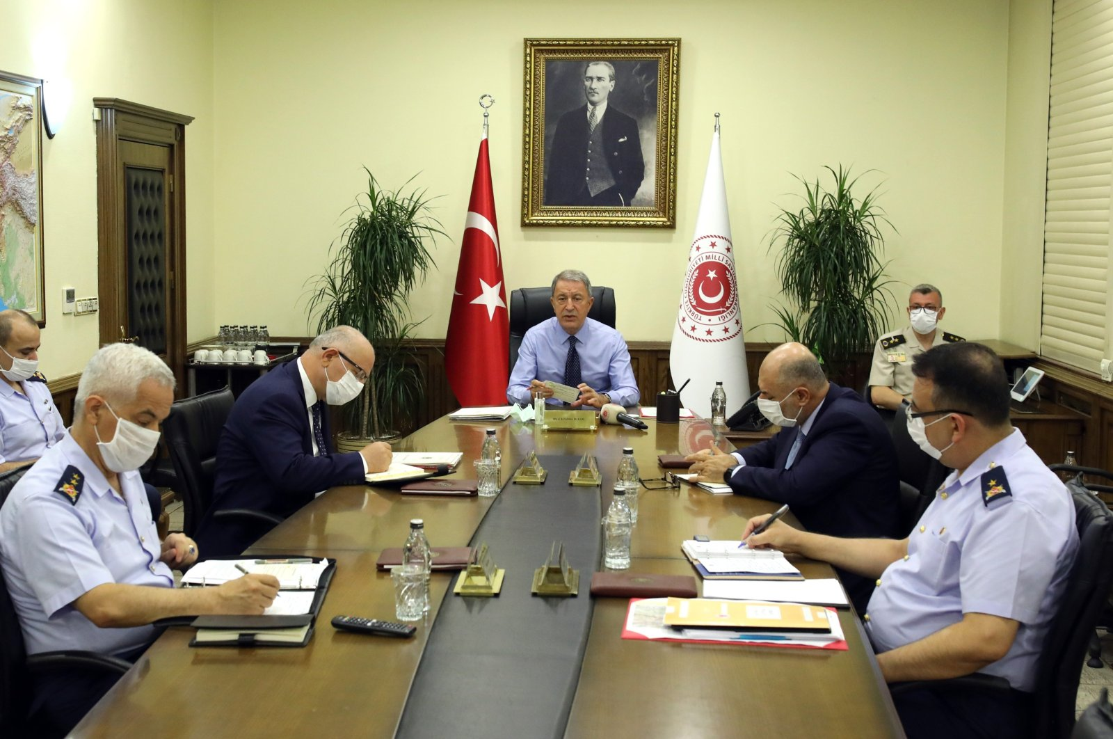 Defense Minister Hulusi Akar attends a meeting with the commanders-in-chief of the Turkish Armed Forces in Ankara, Tuesday, Aug. 11, 2020 (DHA Photo)