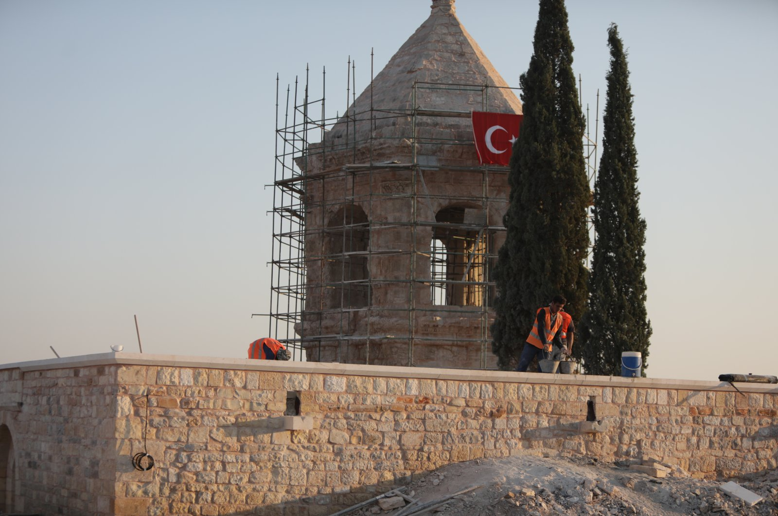 Turkey's Regional Directorate of Foundations renovates a historical site damaged by the YPG/PKK terrorist group in the northern Afrin province, Syria, Aug. 12, 2020 (AA Photo)