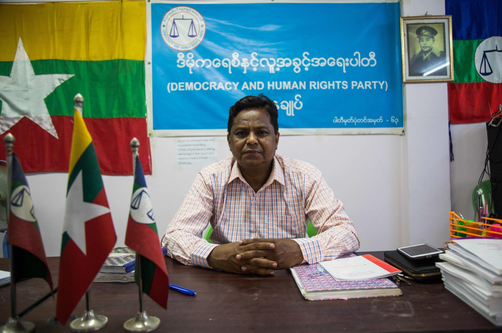 Rohingya candidate Abdul Rasheed, a member of the Democracy and Human Rights Party poses for a photo in the party's office, Yangon, Aug.12, 2020. (AFP Photo)