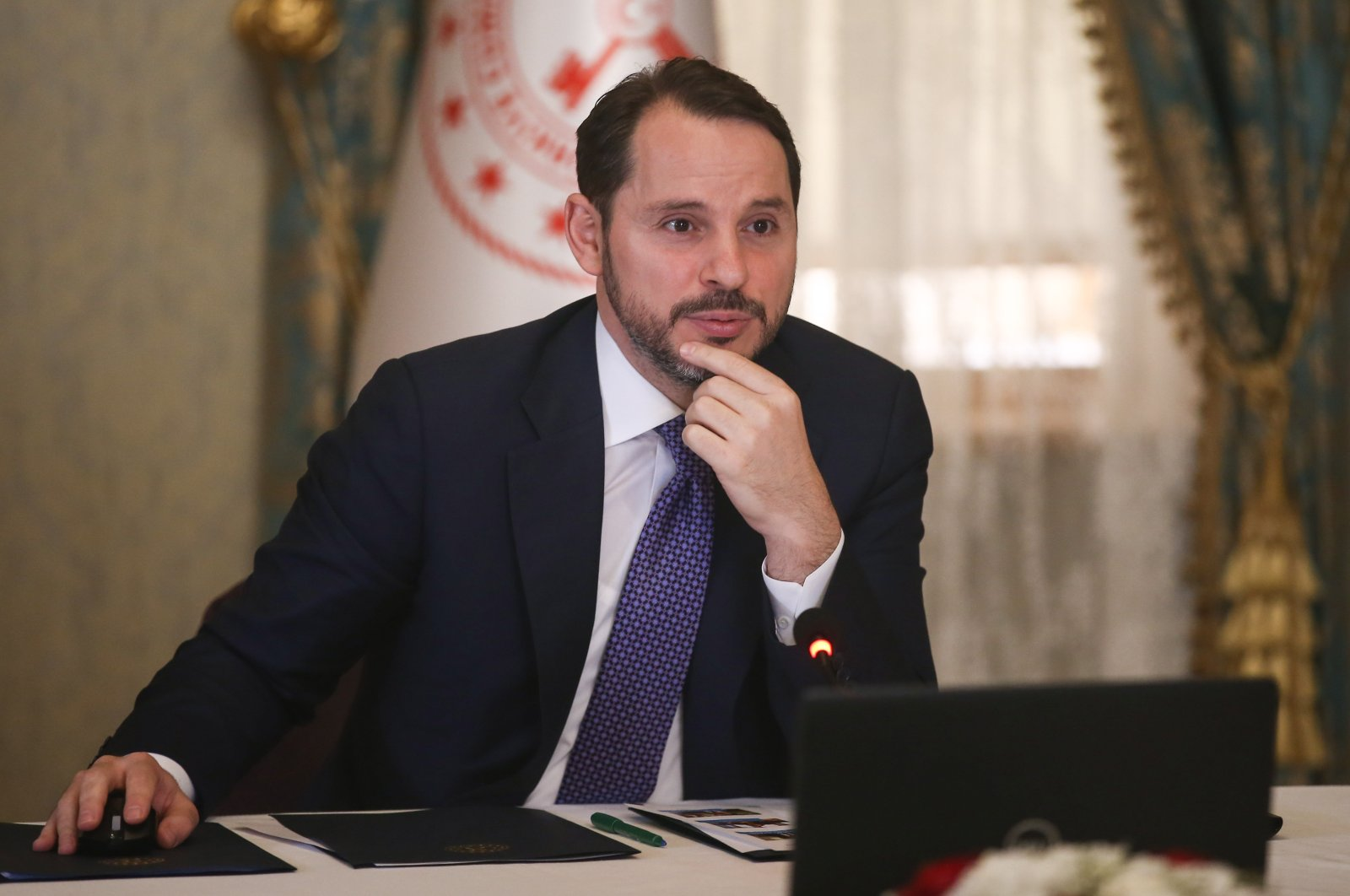 Treasury and Finance Minister Berat Albayrak attends a videoconference at the president's office on the grounds of Dolmabahçe Palace in Istanbul, Turkey, July 16, 2020. (AA Photo)