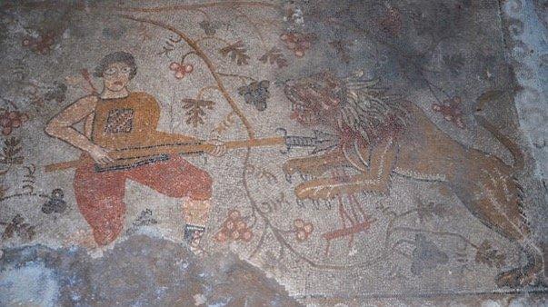 A groun mosaic in Yunuslar neighborhood, Konya, central Turkey, Aug. 12, 2020. (AA PHOTO)
