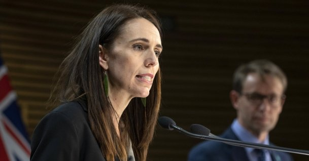 New Zealand Prime Minister Jacinda Ardern (L), and Director of Health Ashley Bloomfield address a press conference in Wellington, New Zealand, Aug. 12, 2020. (AP Photo)