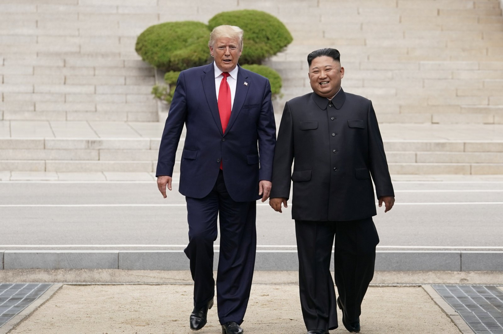 U.S. President Donald Trump meets with North Korean leader Kim Jong Un at the demilitarized zone separating the two Koreas, in Panmunjom, South Korea, June 30, 2019. (Reuters Photo)