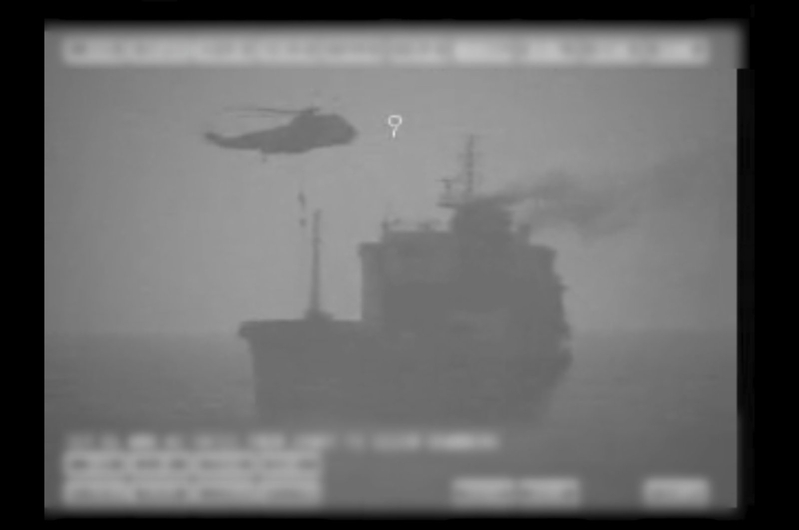 In this image made from video released by the U.S. military's Central Command, Iranian commandos fast-rope down from a helicopter onto the MV Wila oil tanker in the Gulf of Oman off the coast of the United Arab Emirates, Aug. 12, 2020. (AP Photo)