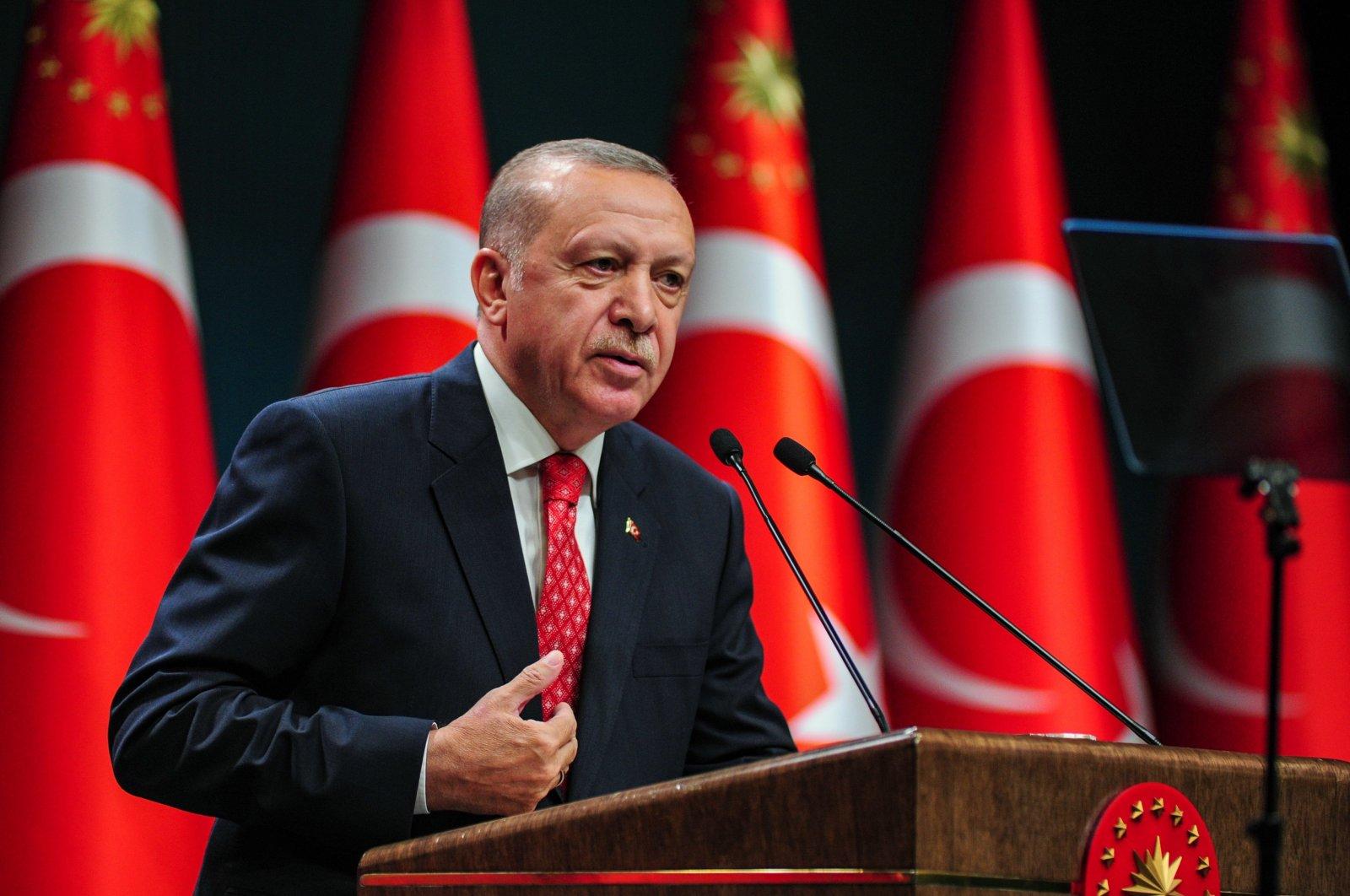 President Recep Tayyip Erdoğan speaks after a Cabinet meeting, Ankara, Turkey, Aug. 10, 2020. (İHA Photo)