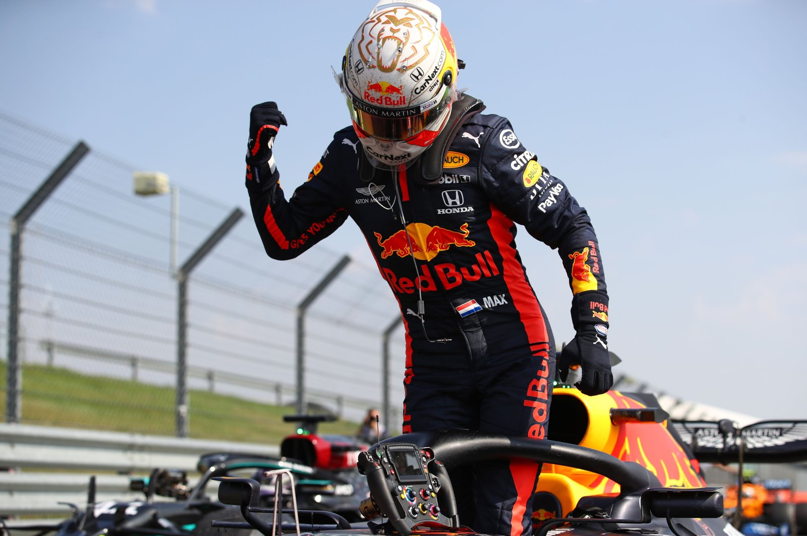 Red Bull driver Max Verstappen celebrates after winning the Formula 1 70th Anniversary Grand Prix in Northampton, Britain, Aug. 9, 2020. (AFP Photo)