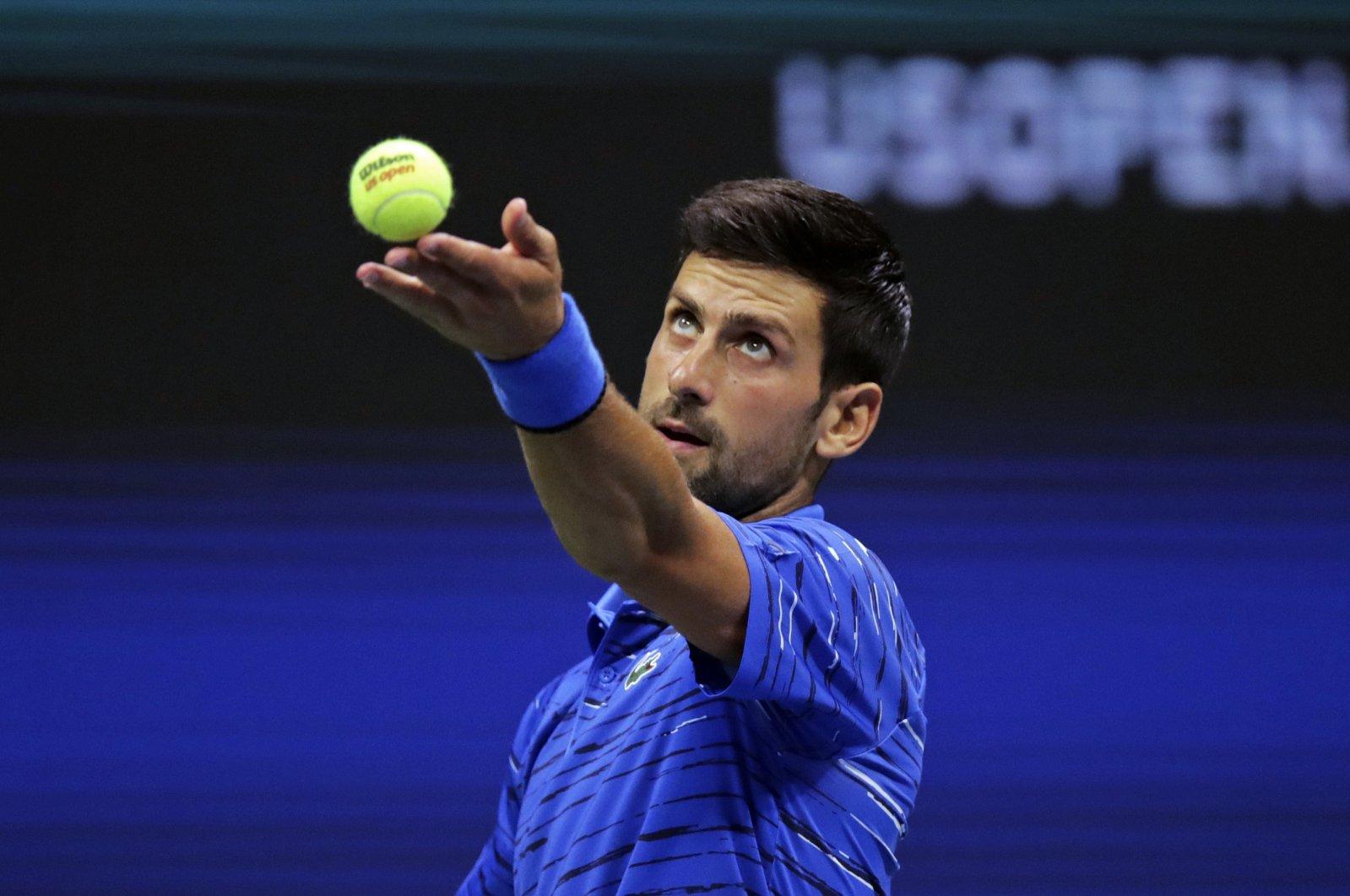Novak Djokovic serves Denis Kudla during the U.S. Open tennis tournament, New York, U.S., Aug. 30, 2019. (AP Photo)