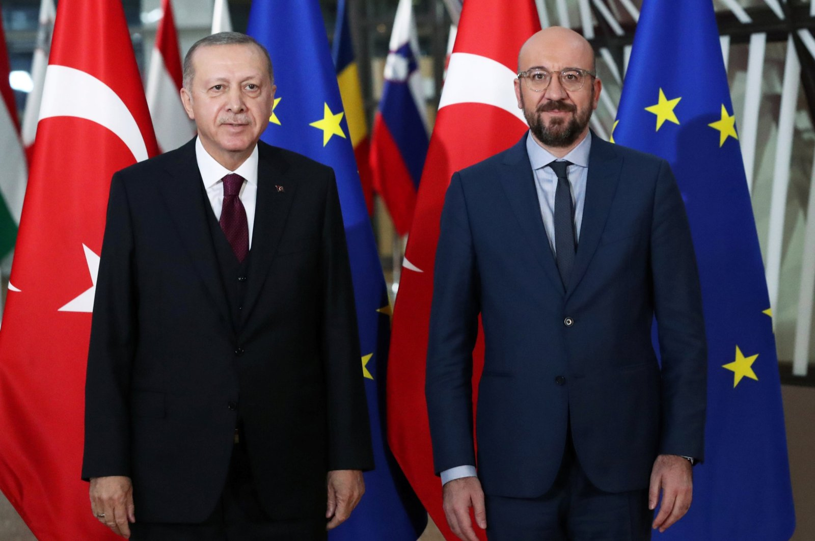 President Tayyip Erdoğan and EU Council President Charles Michel pose in Brussels, Belgium March 9, 2020. (REUTERS)