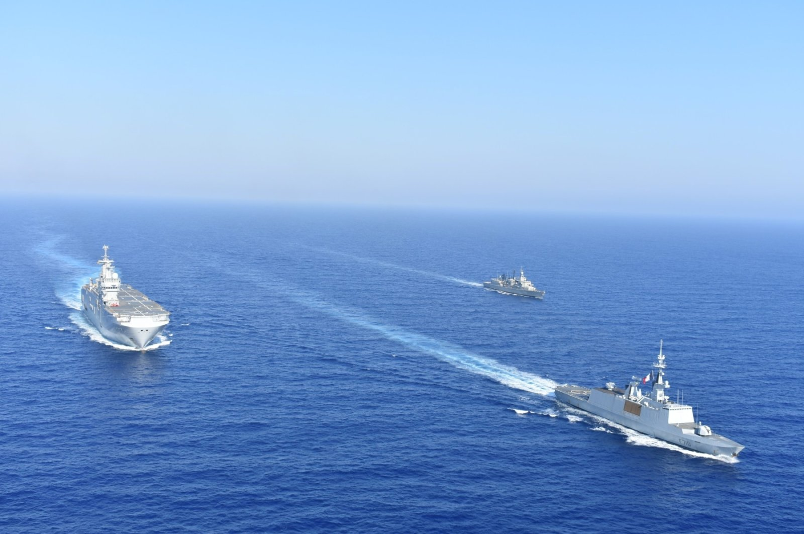 Greek and French vessels sail in formation during a joint military exercise in the Mediterranean, Aug.13, 2020. (Reuters Photo)