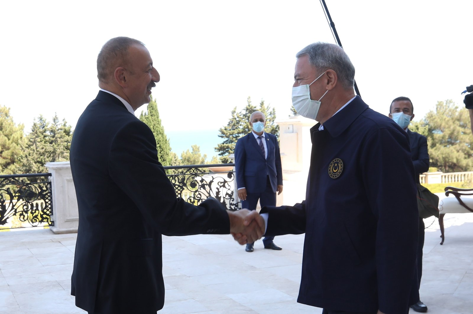 Azerbaijani President Ilham Aliyev receives Turkish Defense Minister Hulusi Akar in Baku, Aug. 13, 2020. (AA Photo)