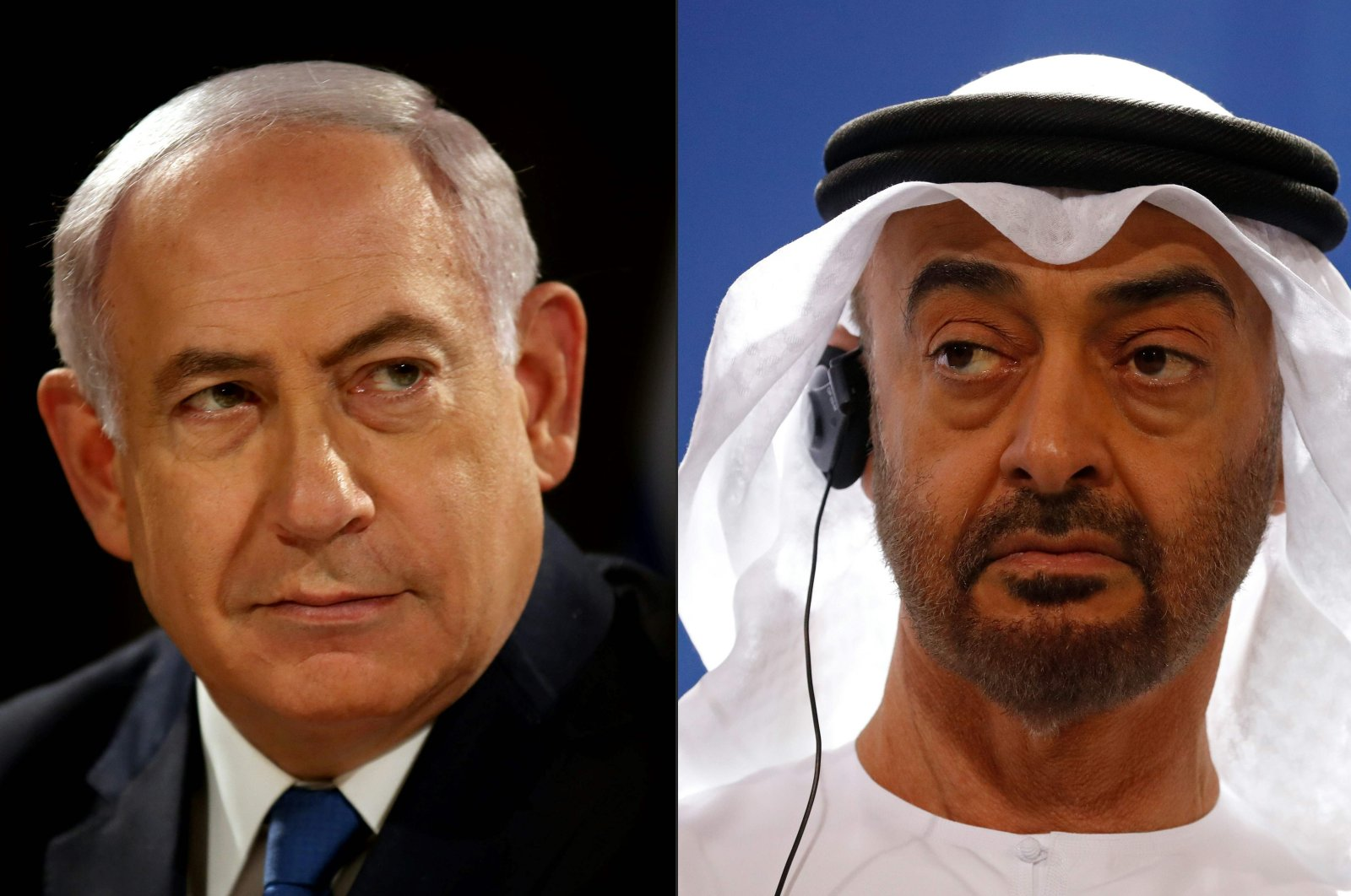 This combination of pictures shows Israeli Prime Minister Benjamin Netanyahu (L) in Jerusalem and Abu Dhabi's Crown Prince Mohammed bin Zayed in Berlin, created Aug. 13, 2020. (AFP Photos)