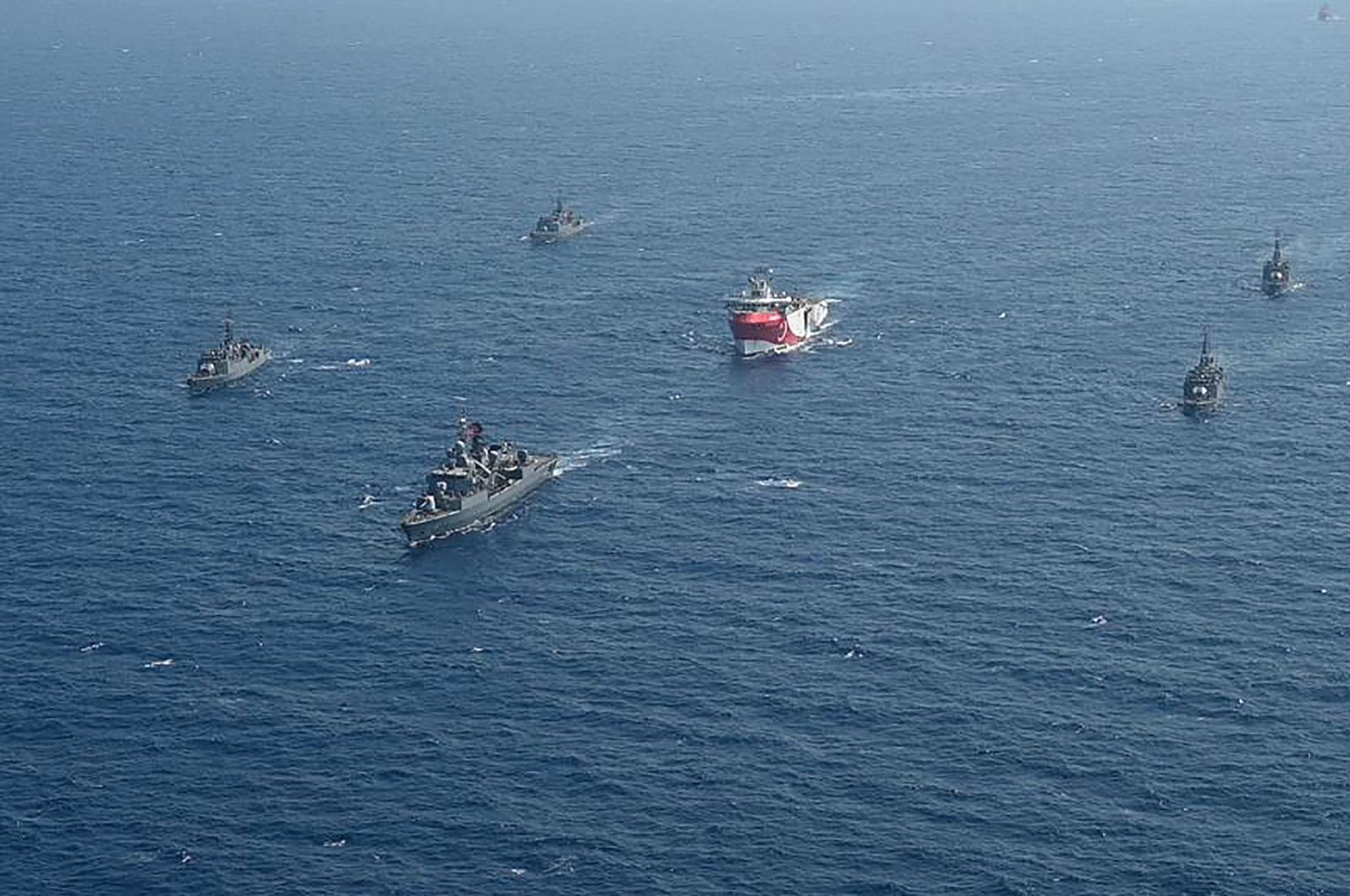 The Turkish seismic research vessel Oruç Reis is escorted by Turkish naval ships in the Mediterranean Sea off Antalya, Turkey, Aug. 10, 2020. (AFP Photo)