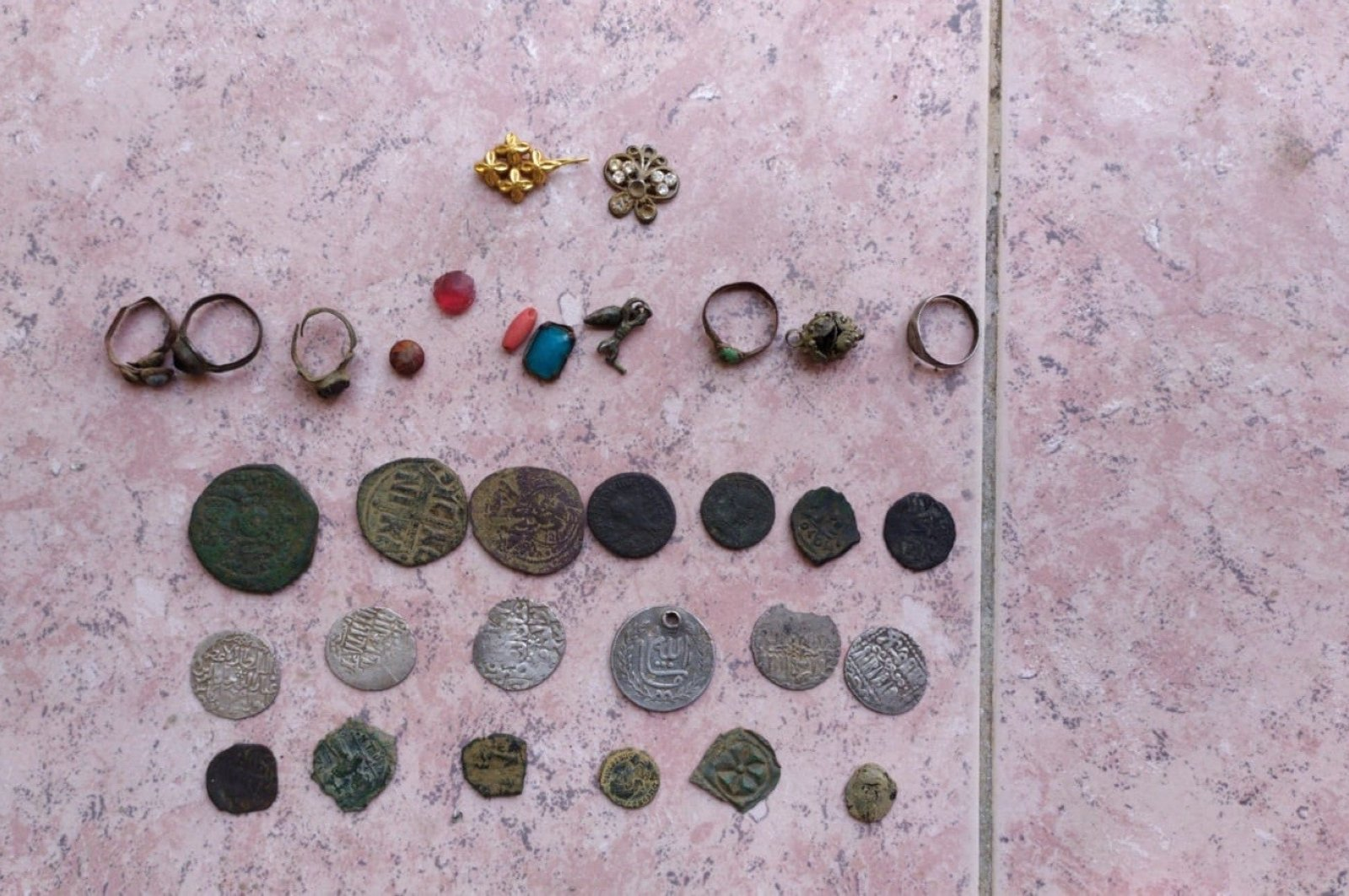 Some artifacts seized in operations are displayed at police headquarters in Izmir, western Turkey, Aug. 13, 2020.