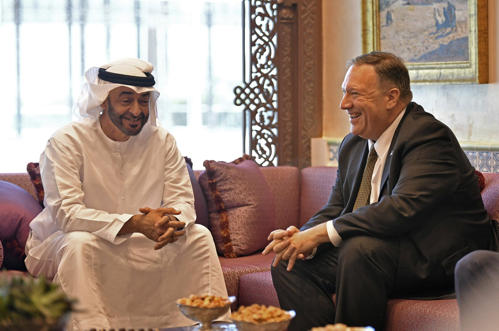 U.S. Secretary of State Mike Pompeo meets with Abu Dhabi Crown Prince Mohamed bin Zayed al-Nahyan in Abu Dhabi, United Arab Emirates, Sept. 19, 2019. (AP Photo)