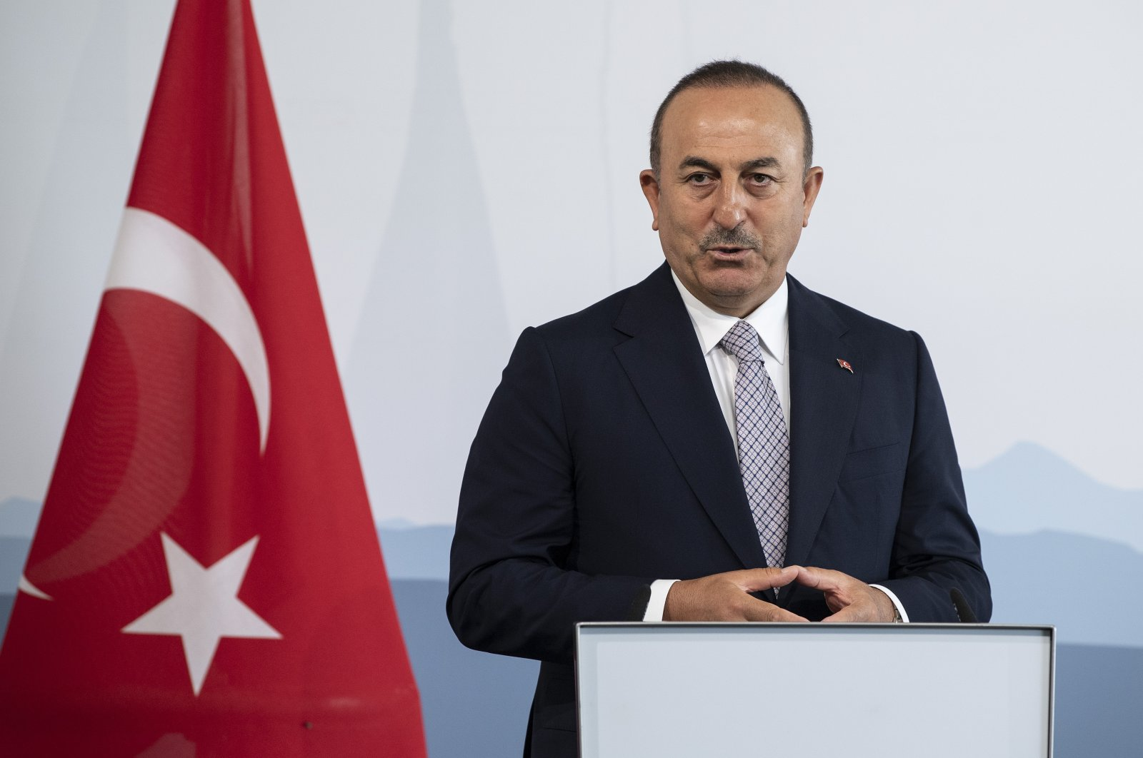 Mevlüt Çavuşoğlu, foreign minister of Turkey, addresses the media during a joint news conference with Swiss Federal Councilor Ignazio Cassis as part of an official visit in Bern, Switzerland, Aug. 14, 2020. (AP Photo)