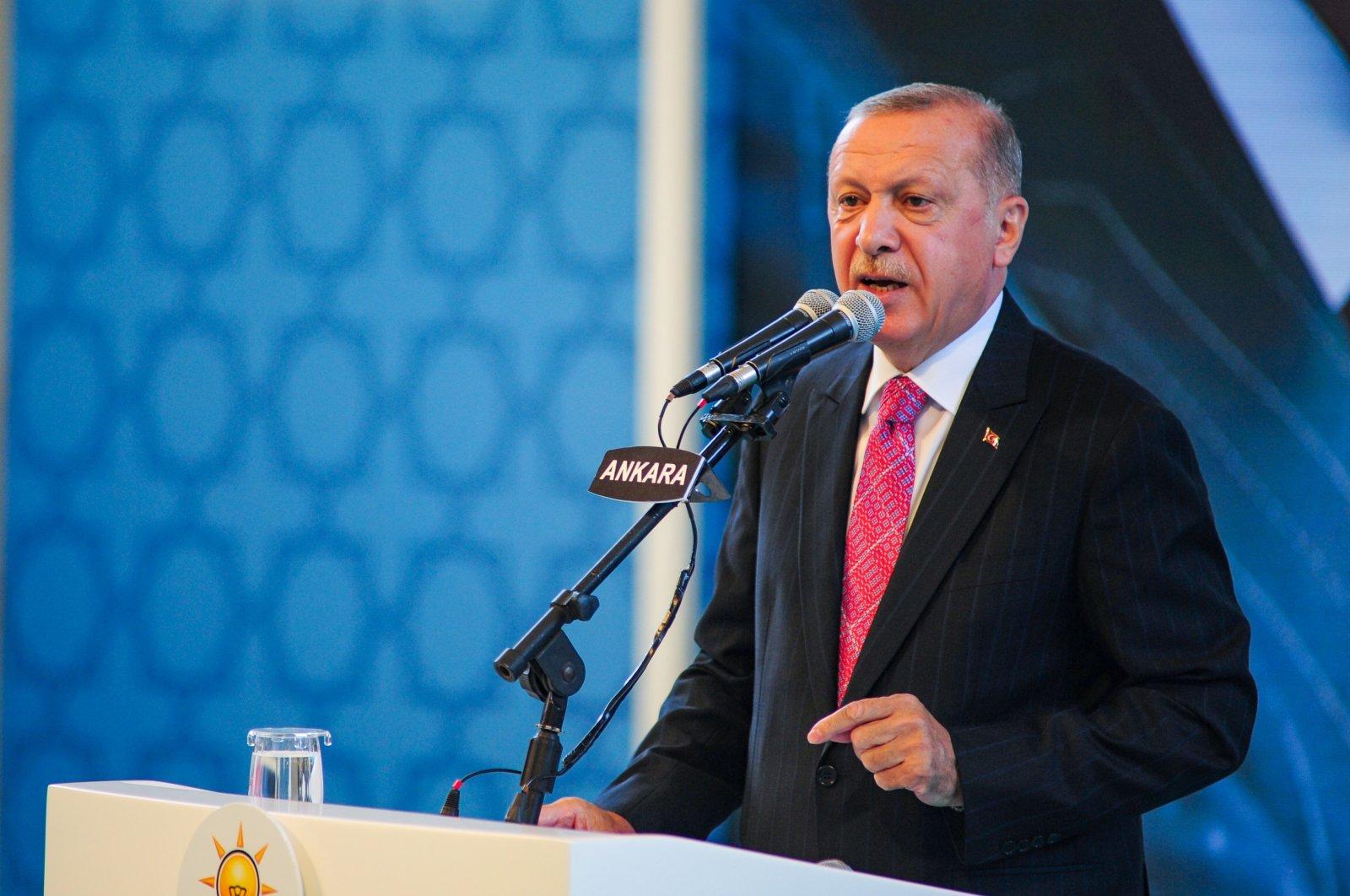 President Recep Tayyip Erdoğan speaks at the Justice and Development Party's (AK Party) 19th anniversary celebrations in Ankara, Turkey, Aug. 13, 2020. (IHA Photo)