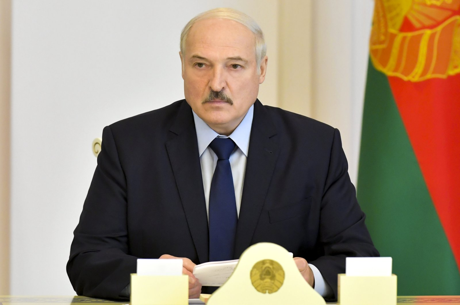 Belarusian President Alexander Lukashenko attends a meeting on issues of functioning and increasing the efficiency of the construction industry, Minsk, Aug. 14, 2020. (AP Photo)