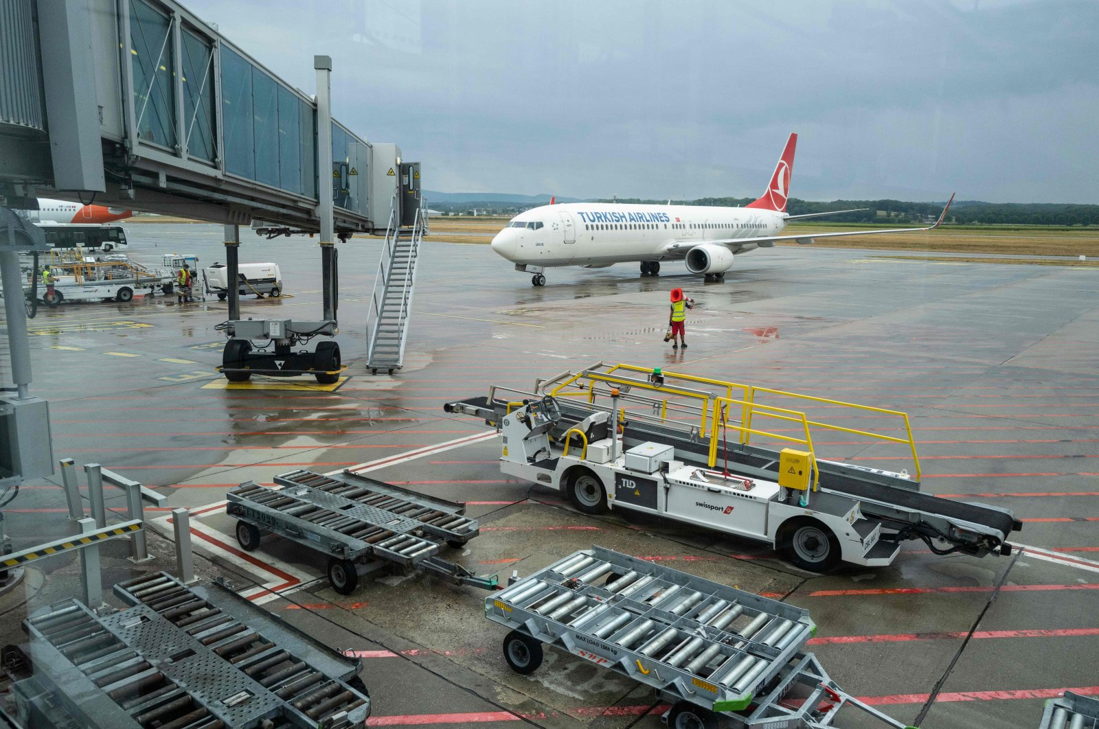 A Turkish Airlines plane arriving from Istanbul parks at the Basel-Mulhouse Euroairport in Saint Louis, eastern France, Aug. 4, 2020. (AFP Photo)