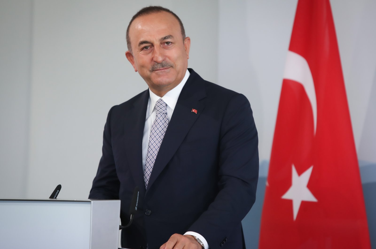 Turkish Foreign Minister Mevlüt Çavuşoğlu addresses the media during a joint press conference with Swiss Federal Councilor Ignazio Cassis as part of an official visit in Bern, Switzerland, Friday, Aug. 14, 2020. (AA Photo)