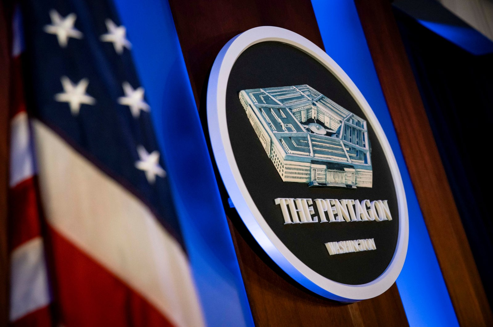 The Pentagon logo is seen behind the podium in the briefing room at the Pentagon in Arlington, Va., Jan. 8, 2020. (Reuters Photo)