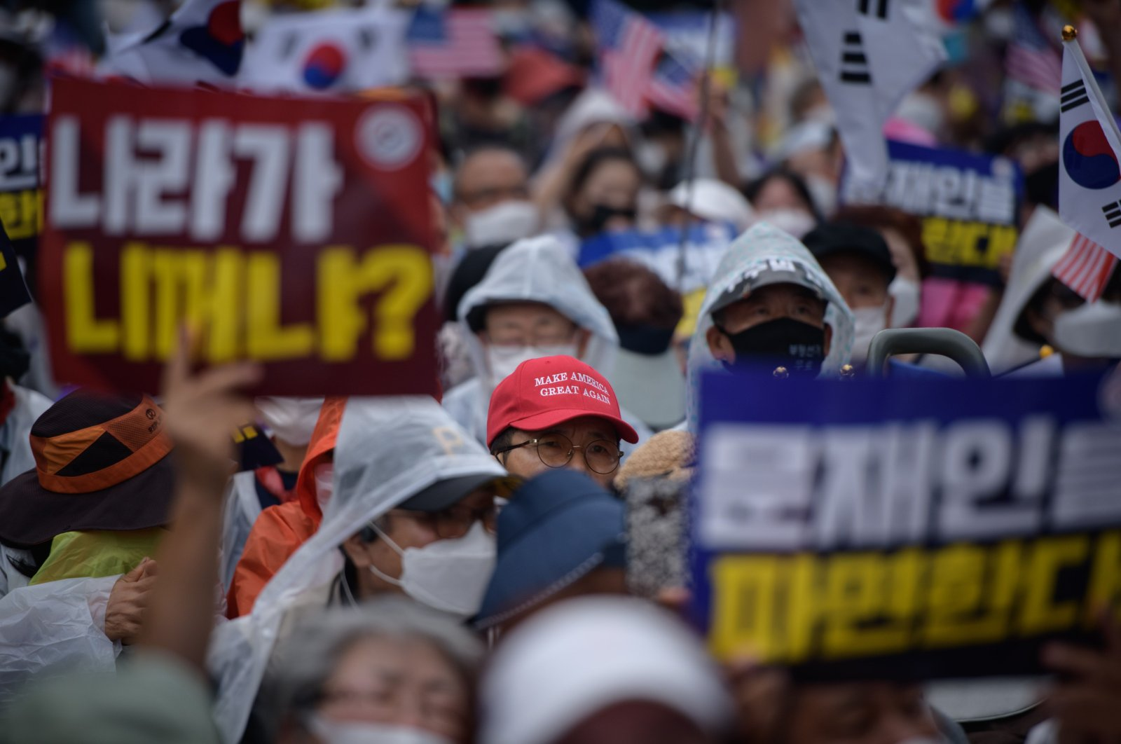 Protesters rally during anti-government protest in the central Gwanghwamun area of Seoul, South Korea, Aug. 15, 2020. (AFP Photo)