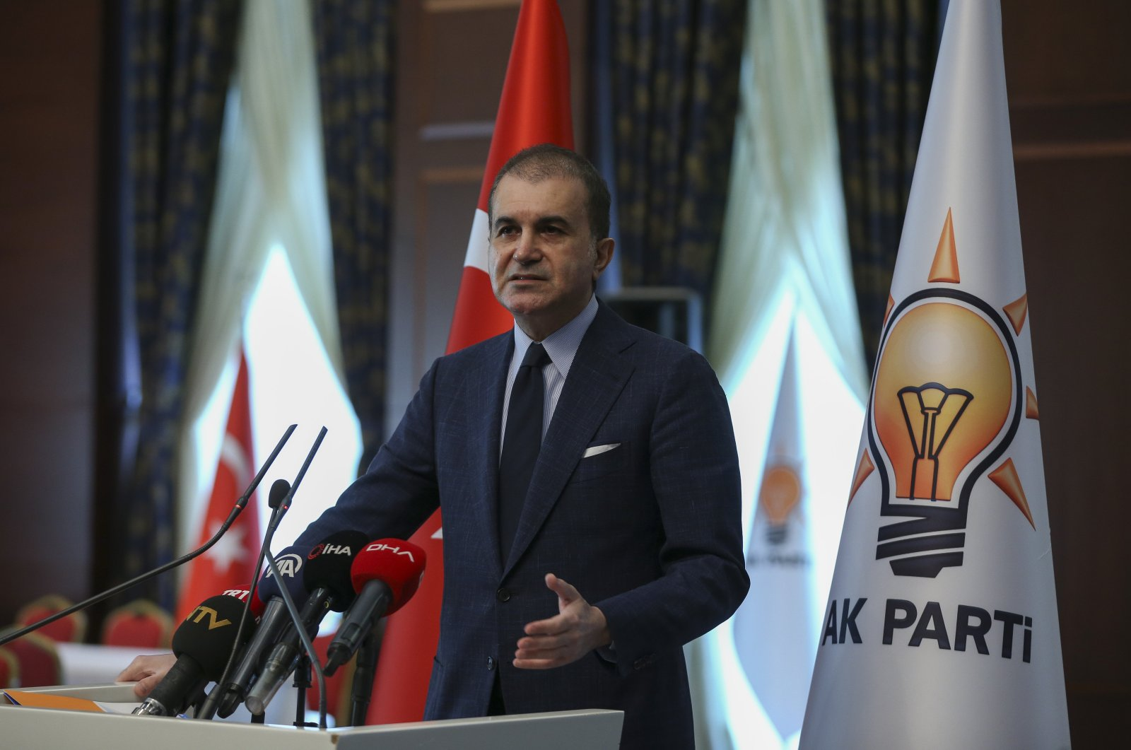 Justice and Development Party (AK Party) Spokesperson Ömer Çelik addresses reporters following a meeting in the capital Ankara, April, 28, 2020. (AA Photo)