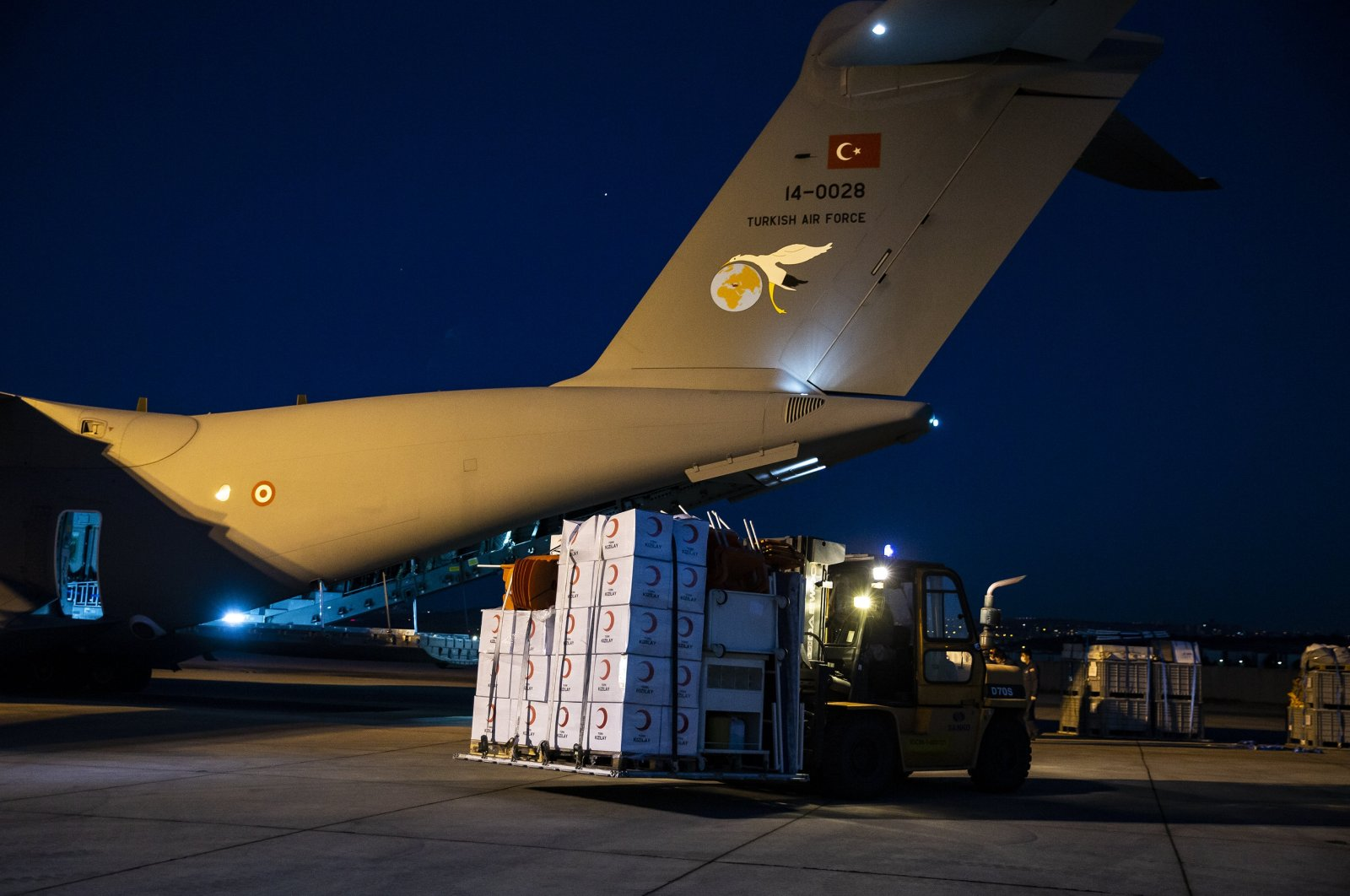 Boxes of medical aid supplies en route to Lebanon are seen at a military airbase in Ankara Turkey on Aug. 7, 2020. (AA Photo)