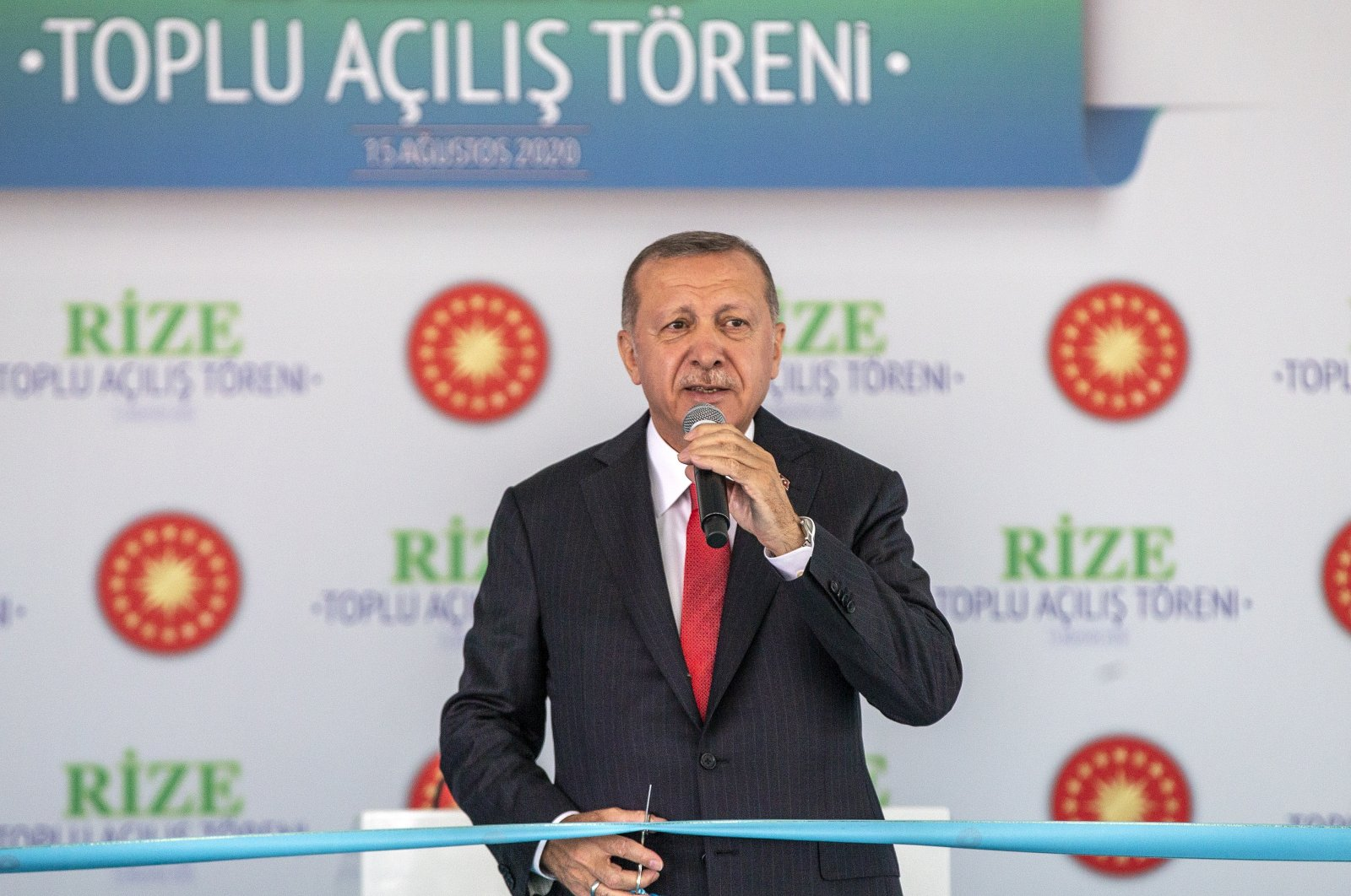 President Recep Tayyip Erdoğan speaks at an opening ceremony in the northeastern Black Sea province Rize on Aug. 15, 2020. (AA Photo)