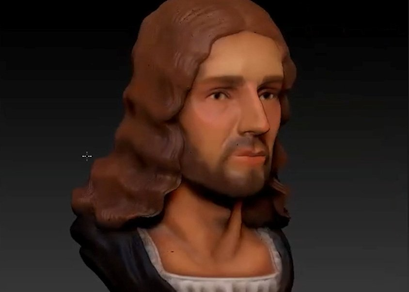 In this still image taken from a video, an animation shows a three-dimensional computer reconstruction of the face of Renaissance master Raphael from a plaster cast of his skull, in Rome, Italy Aug. 6, 2020. (Reuters Photo)