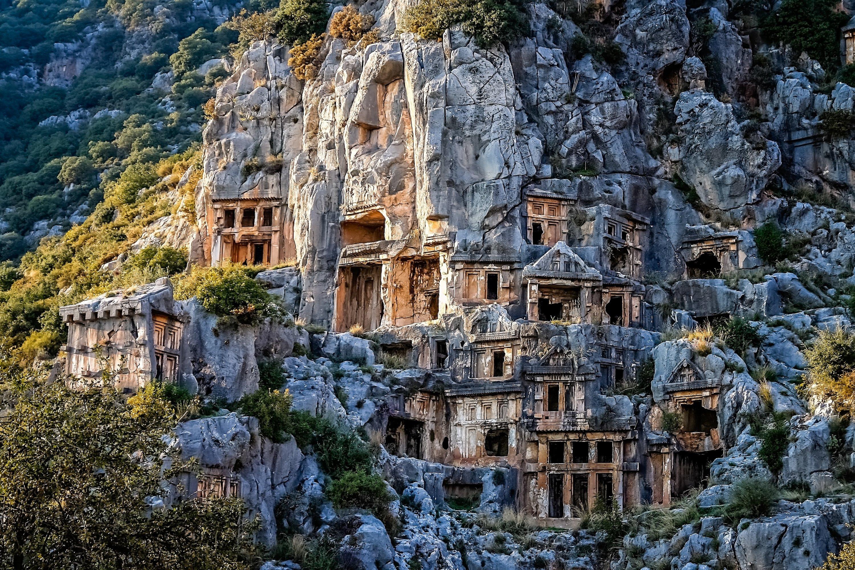 Ancient rock graves at the ancient city of Myra, Antalya, southern Turkey. (iStock Photo)
