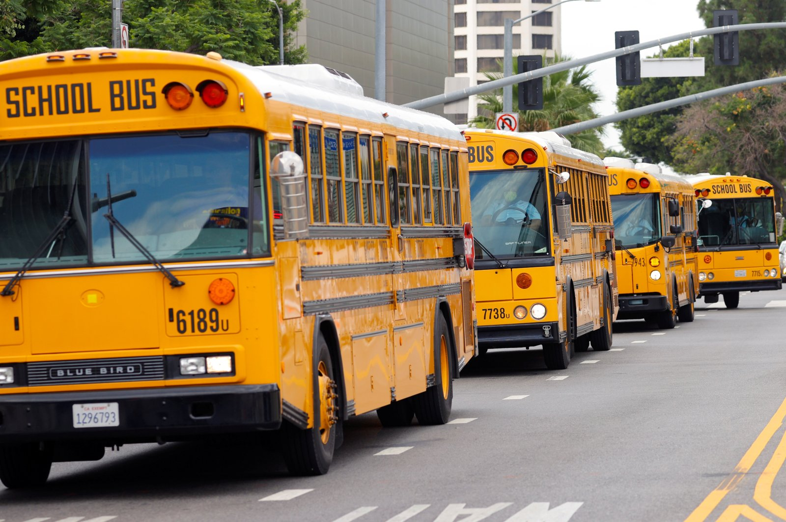 School buses line up on the streets of downtown Los Angeles, California, U.S., Aug. 13, 2020. (Reuters Photo)