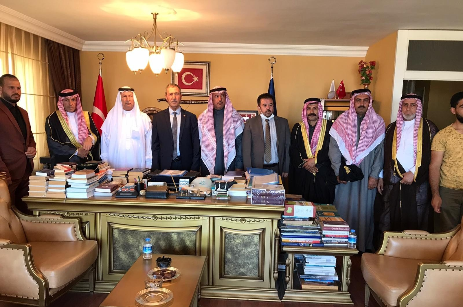 Former Justice and Development Party (AK Party) lawmaker Mahmut Kaplan (C) with Syrian tribe leaders in the capital Ankara, Aug. 15, 2020. (IHA Photo)