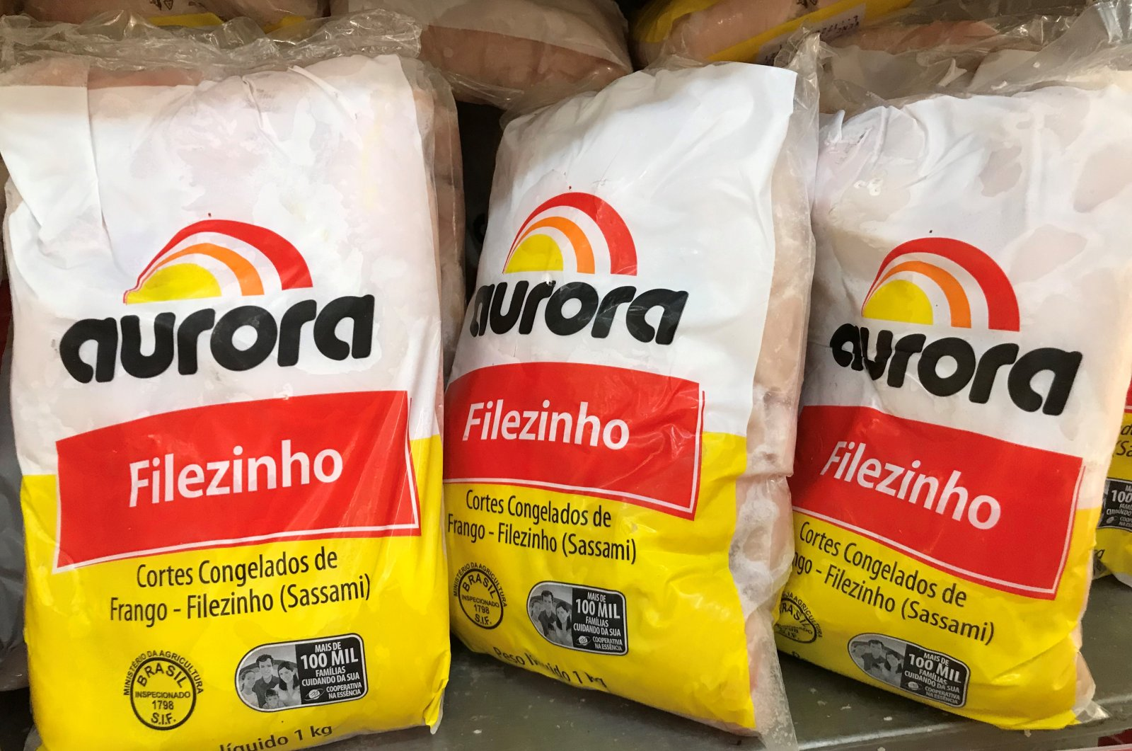 "Bags of frozen chickens ""Aurora"" are pictured at a market amid the coronavirus disease (COVID-19) outbreak, in Rio de Janeiro, Brazil, Aug. 13, 2020. (REUTERS Photo)"