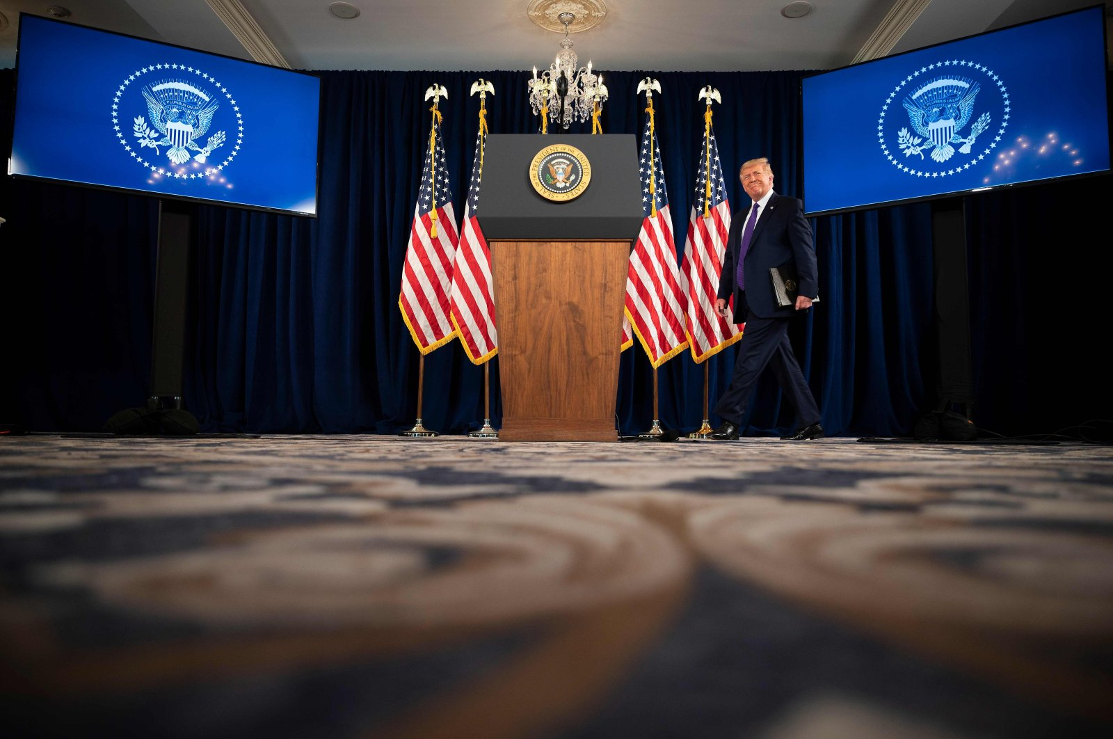 U.S. President Donald Trump arrives to speak at a press conference, Bedminster, New Jersey, U.S., Aug. 15, 2020. (AFP Photo)