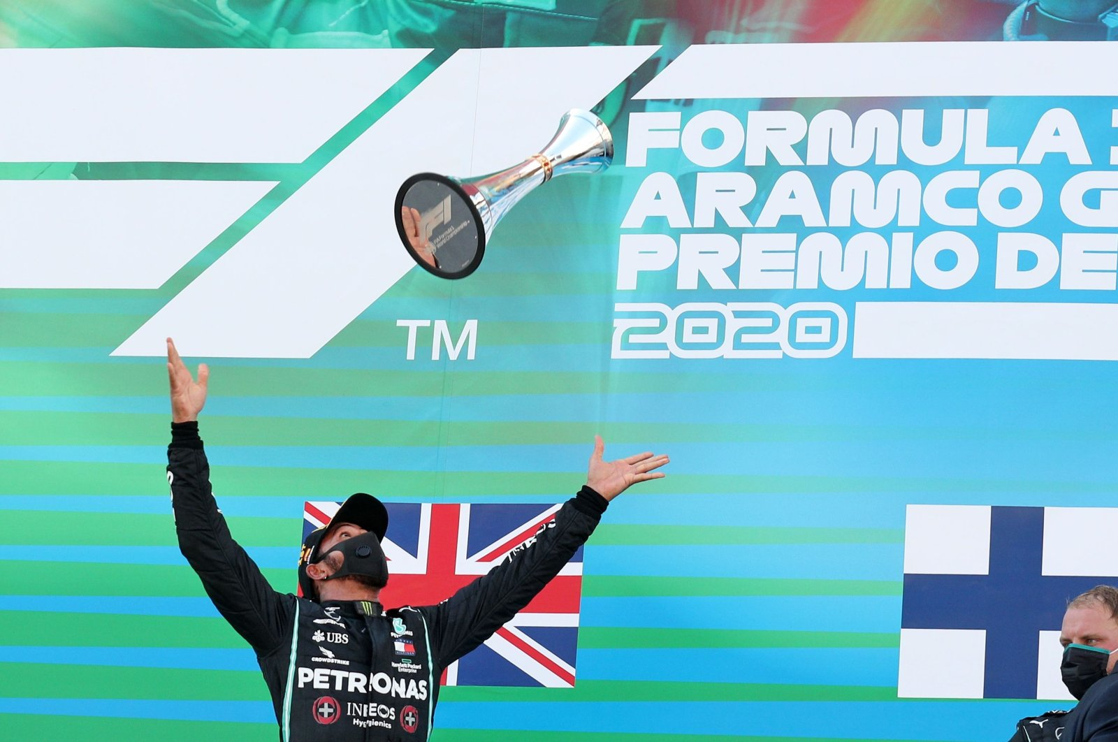 Mercedes driver Lewis Hamilton celebrates on the podium after winning the Formula 1 Spanish Grand Prix in Montmelo, Spain, Aug. 16, 2020. (AFP Photo)