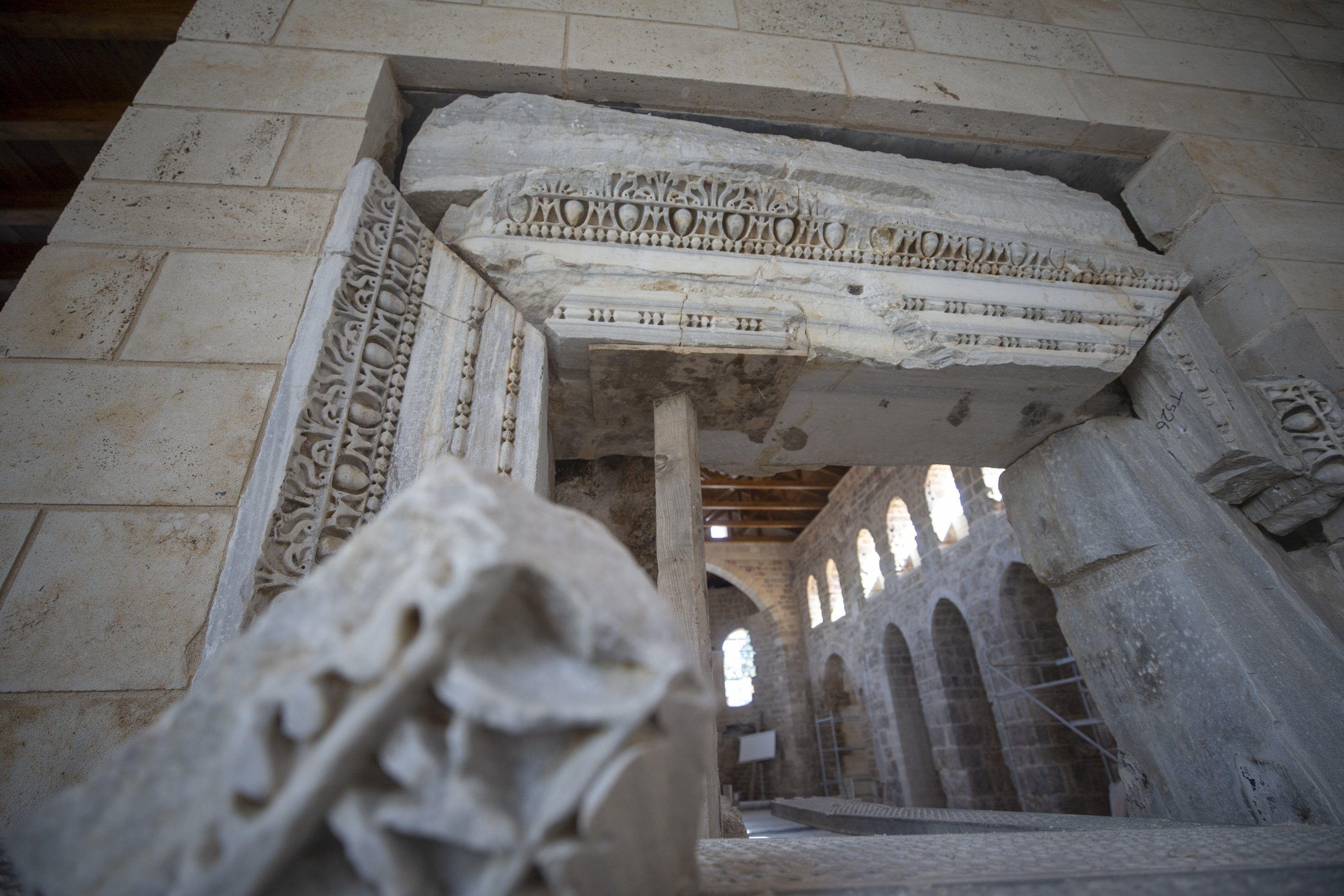Carving details on marble slabs in the Şehzade Korkut Mosque, Antalya, southern Turkey, Aug. 14, 2020. (AA Photo)