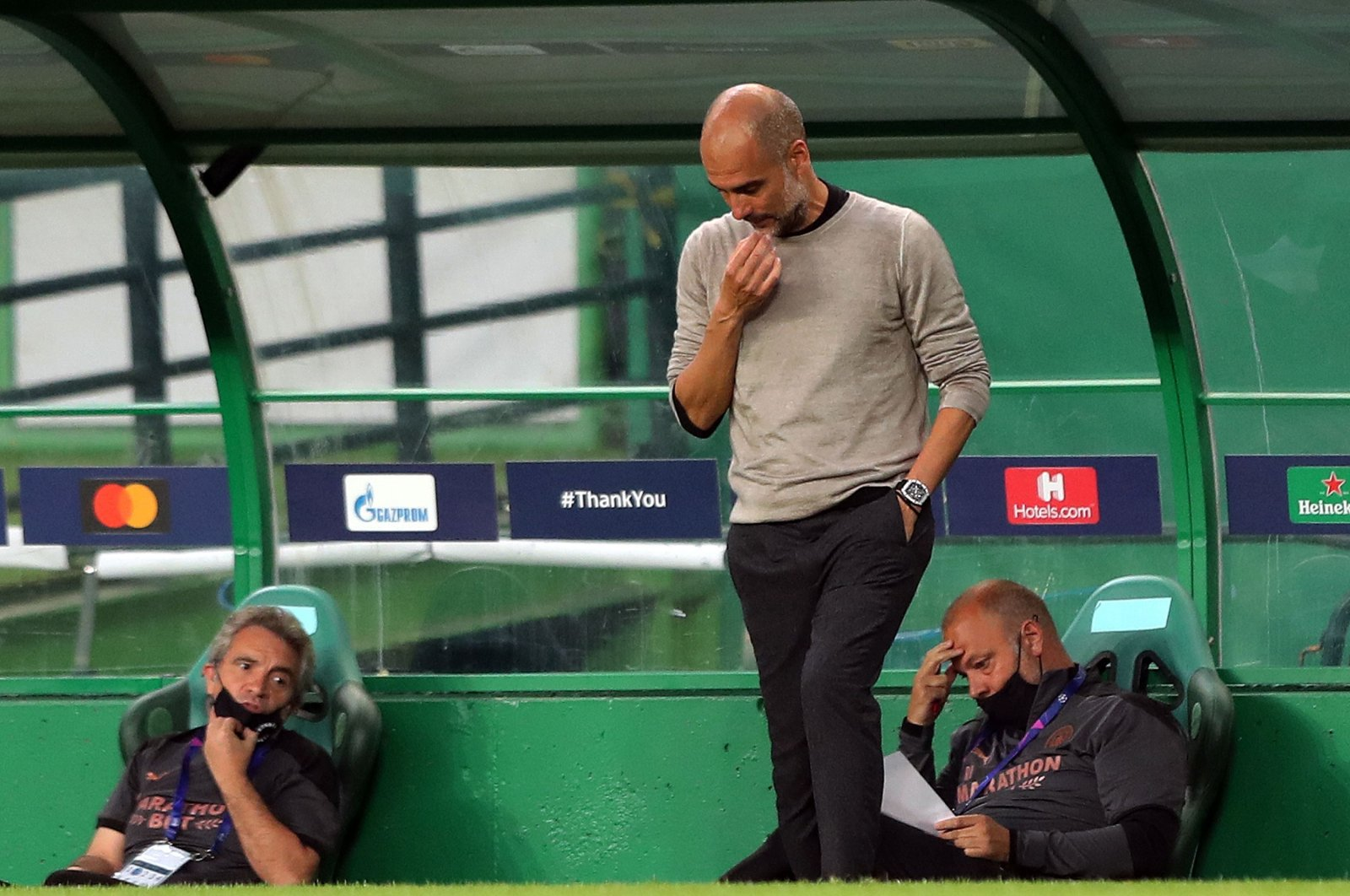 Pep Guardiola gestures on the sidelines during Manchester City's match against Lyon, in Lisbon, Portugal, Aug. 15, 2020. (AFP Photo)