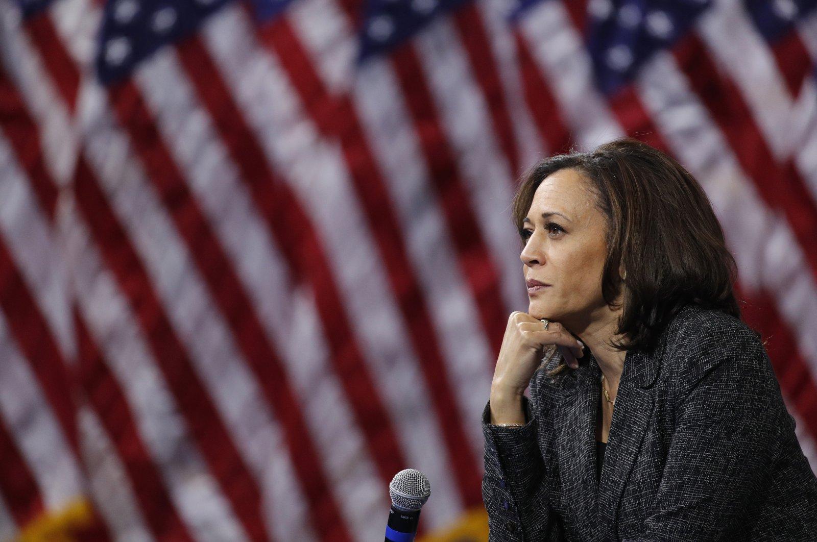 U.S. Sen. Kamala Harris listens during a gun safety forum in Las Vegas, Nevada, U.S., Oct. 2, 2019. (AP Photo)