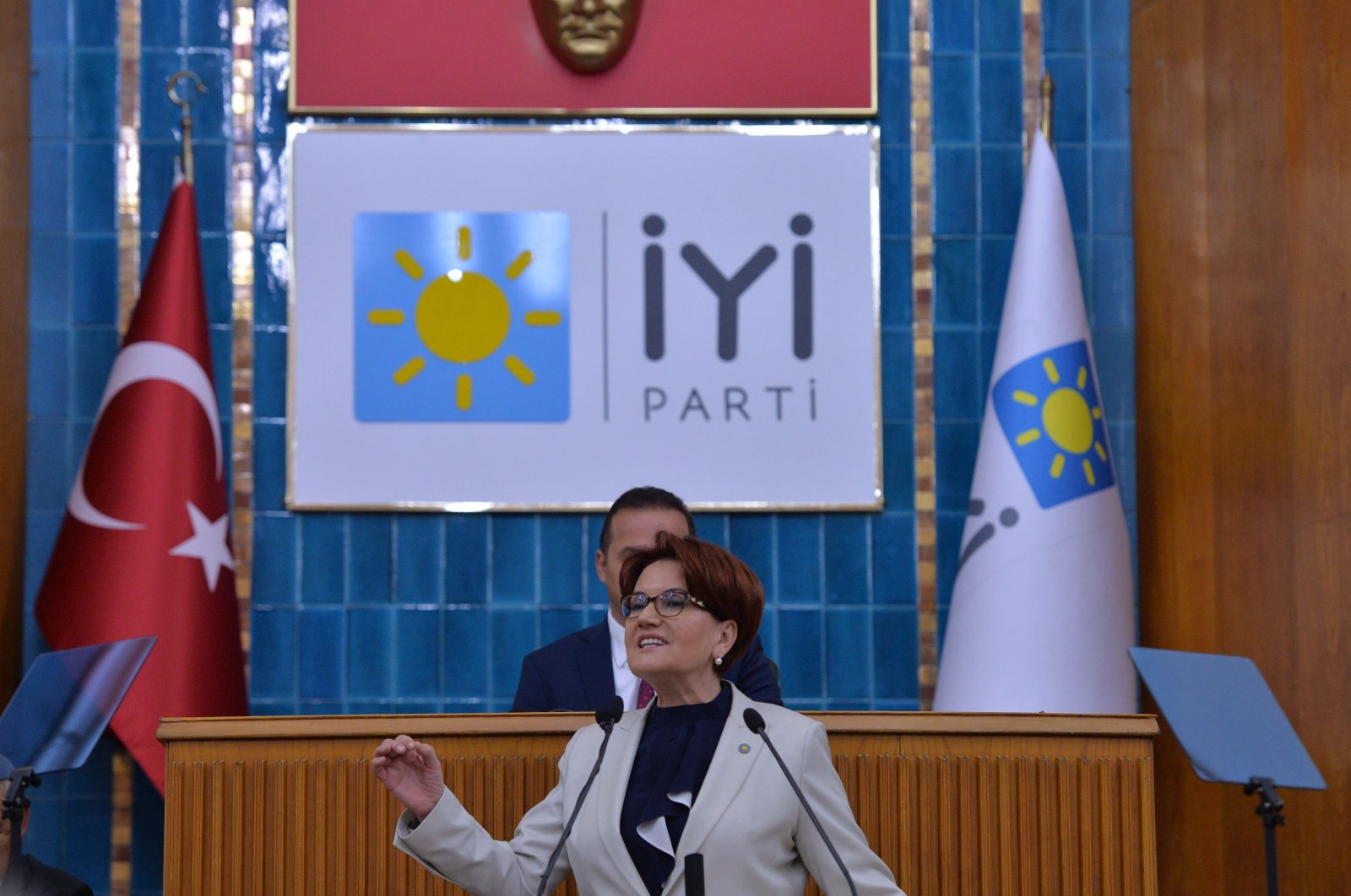 The Good Party's (İP) leader Meral Akşener speaks during a party meeting in the capital Ankara, Nov. 6, 2018. (AA Photo)
