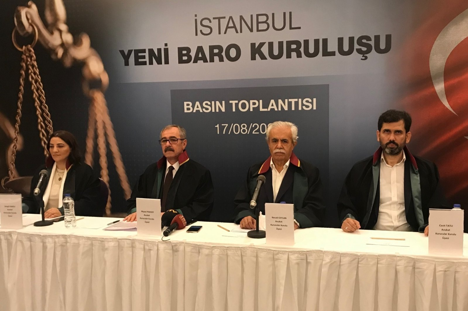 Founding members of the Second Bar Association, lawyer Şengül Karslı, lawyer Niyazi Paksoy, Necati Ceylan and Cavit Tatlı make press statement about the new bar in Istanbul on Monday, Aug. 17, 2020 (AA Photo)