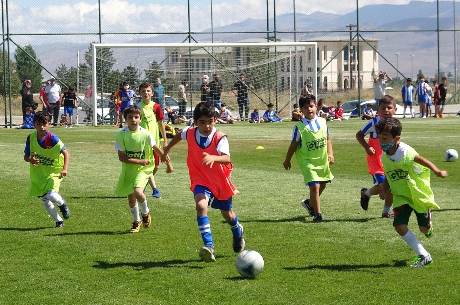 Boys attend a football tryout for a local team, in Erzurum, eastern Turkey, Aug. 15, 2020. (DHA Photo)