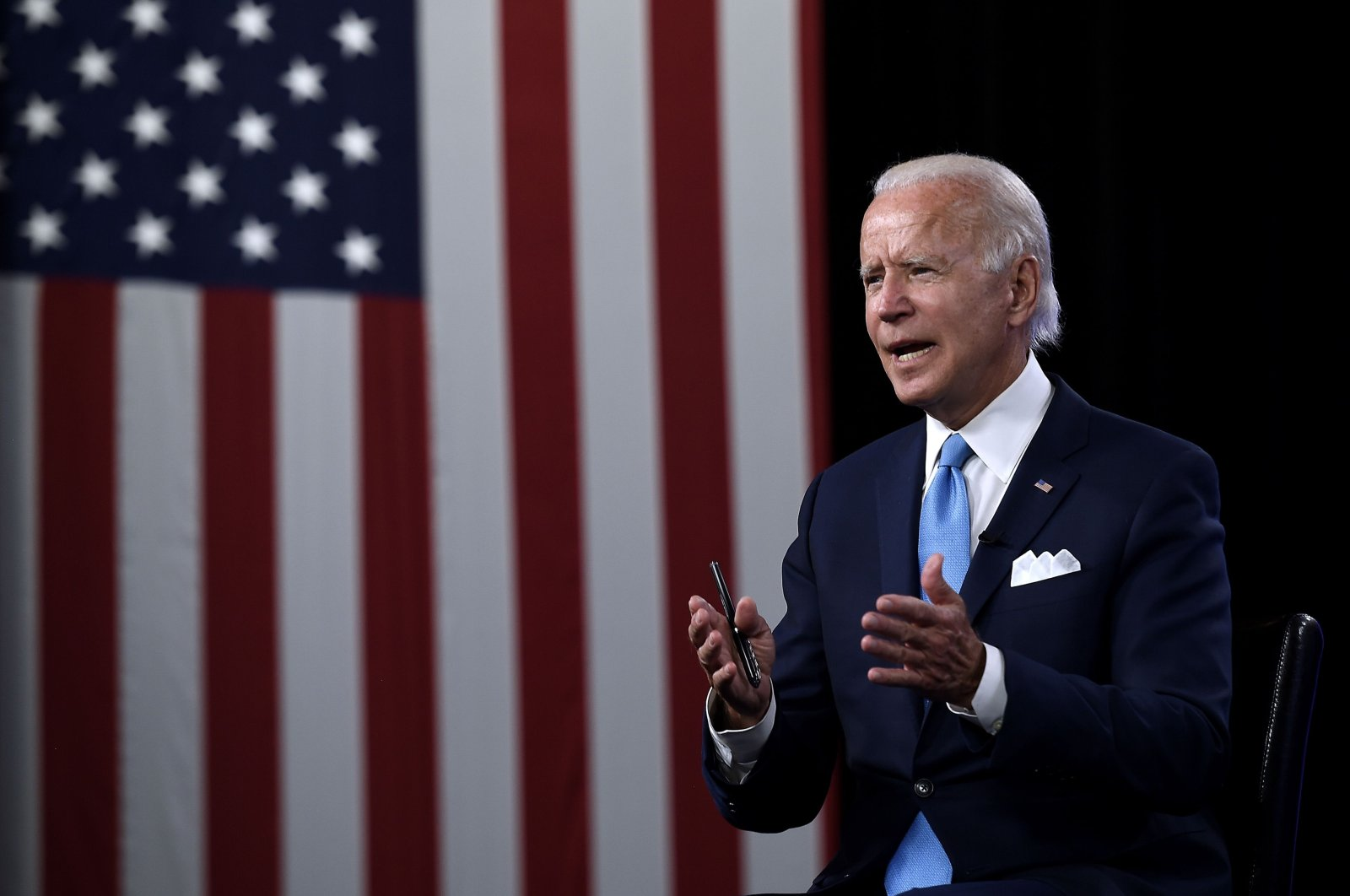 Democratic presidential nominee and former U.S. Vice President Joe Biden speaks at a virtual grassroots fundraiser at the Hotel du Pont in Wilmington, Delaware, Aug. 12, 2020. (AFP Photo)