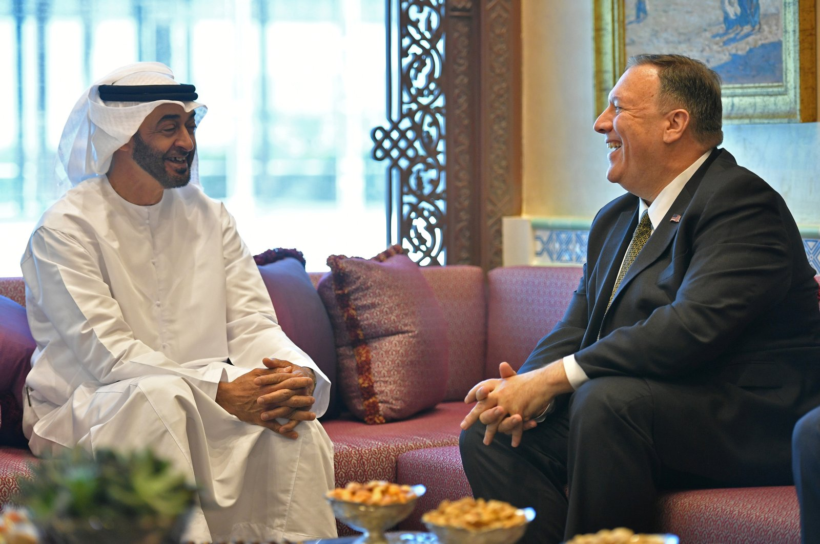 U.S. Secretary of State Mike Pompeo takes part in a meeting with Abu Dhabi Crown Prince Mohammed bin Zayed in Abu Dhabi, United Arab Emirates, Sept. 19, 2019. (Reuters Photo)