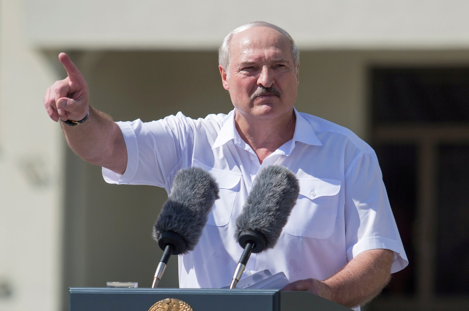 Belarusian President Alexander Lukashenko gestures as he delivers a speech during a rally of his supporters, in the capital Minsk, Aug. 16, 2020. (REUTERS Photo)