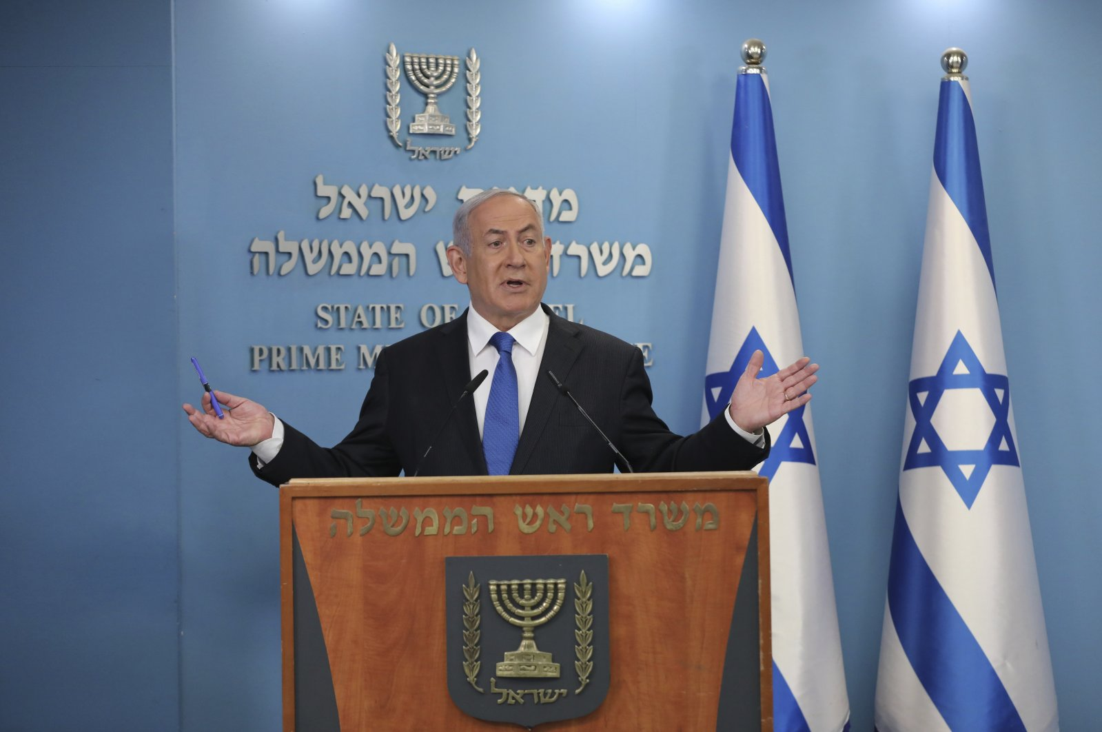 Israeli Prime Minister Benjamin Netanyahu speaks during a news conference, Jerusalem, Aug. 13, 2020. (AP Photo)
